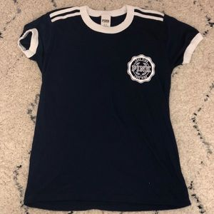 PINK Victorious Secret Navy and White T-Shirt